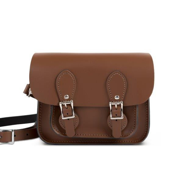 Freya Premium Leather Mini Satchel in Dark Brown