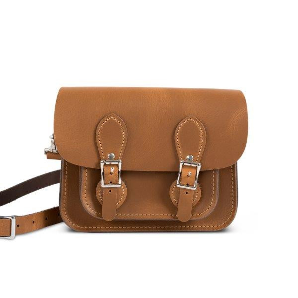 Freya Premium Leather Mini Satchel Bag in Premium Tan