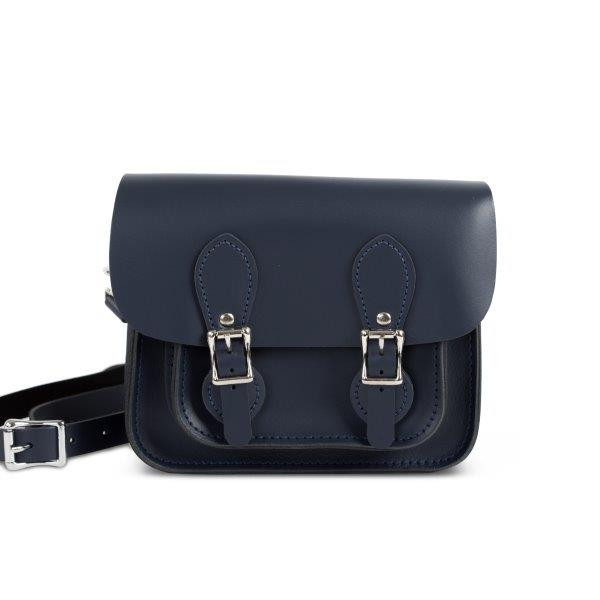Freya Premium Leather Mini Satchel Bag in Navy Blue