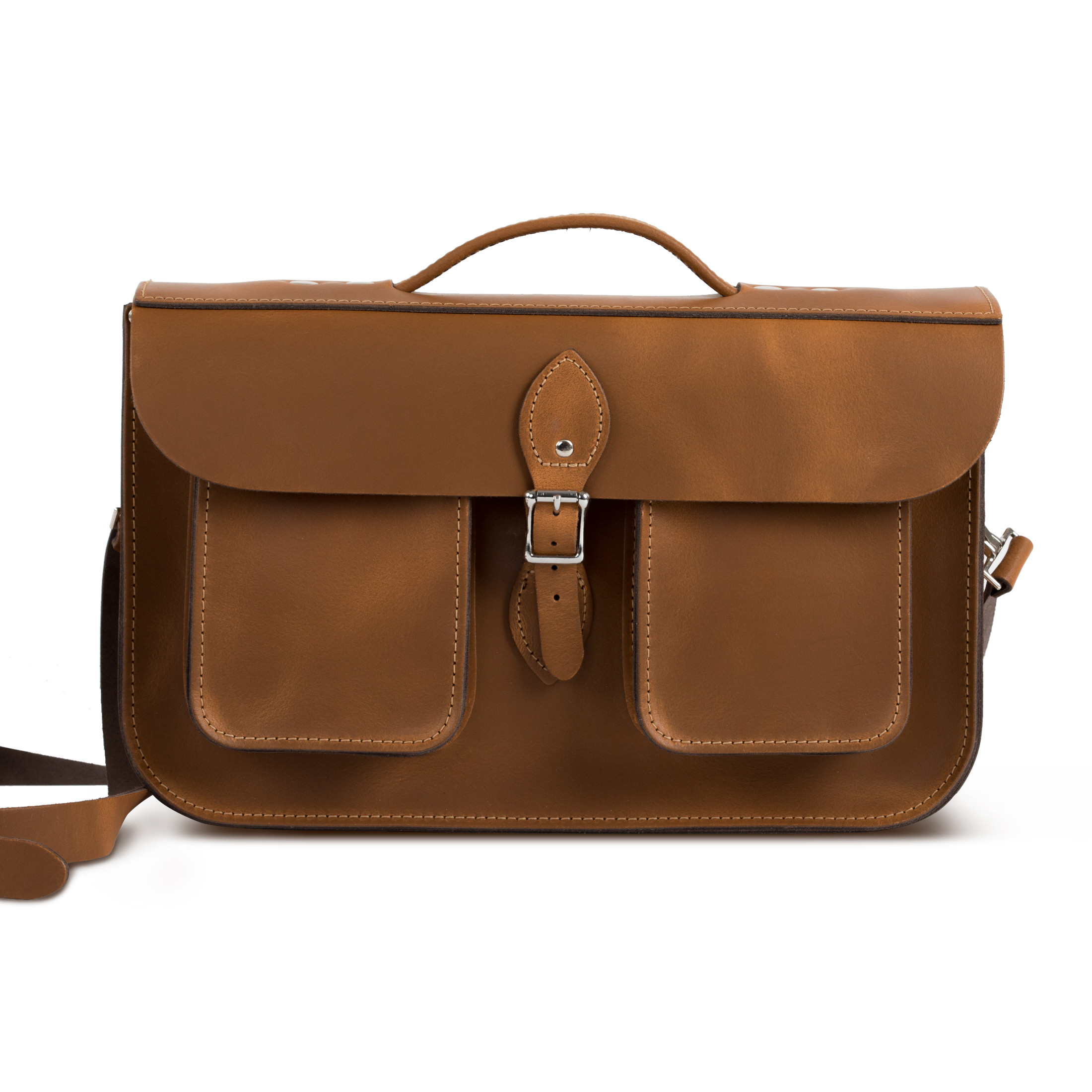 Jude Premium Leather Briefcase in Vintage Tan