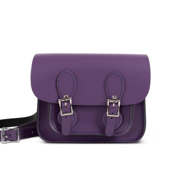 Freya Premium Leather Mini Satchel Bag in Aubergine