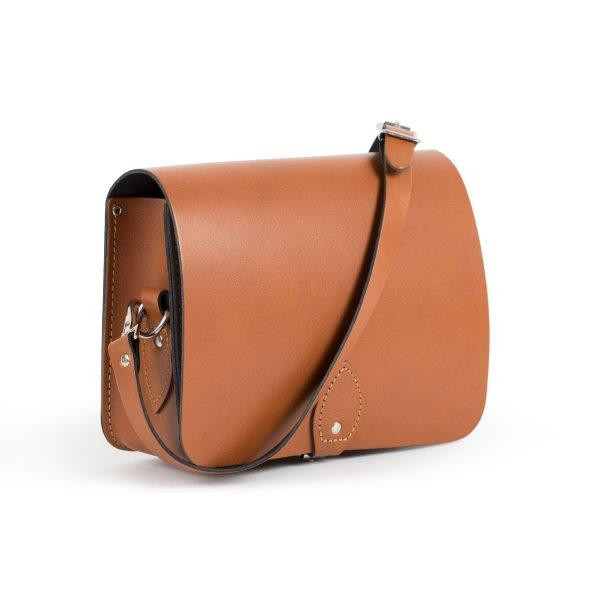 Riley Premium Leather Saddle Bag in Dark Tan