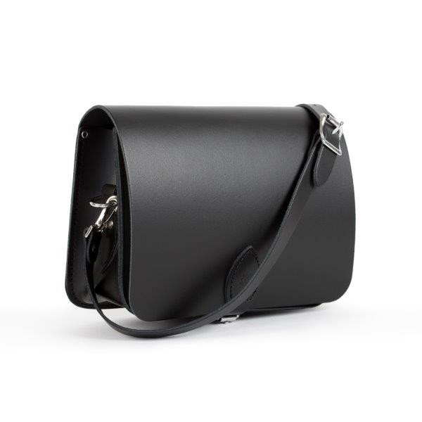 Riley Premium Leather Saddle Bag in Matte Black