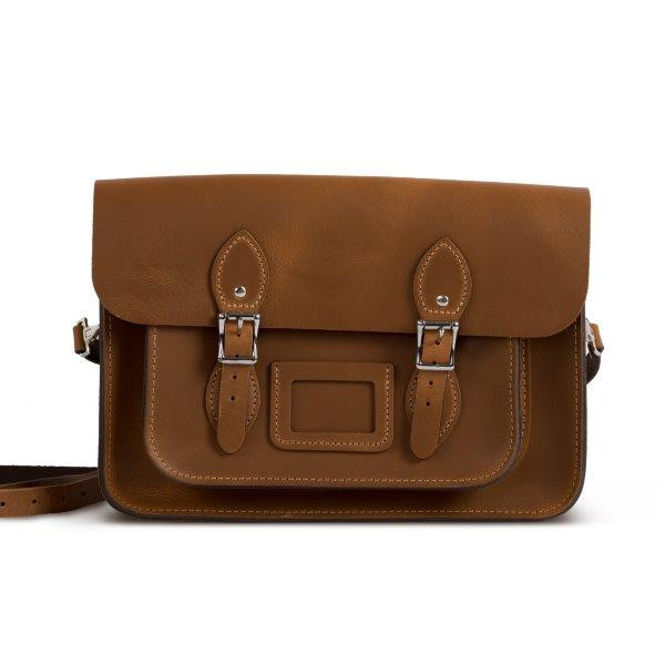 "Charlotte Premium Leather 13"" Satchel in Vintage Tan"