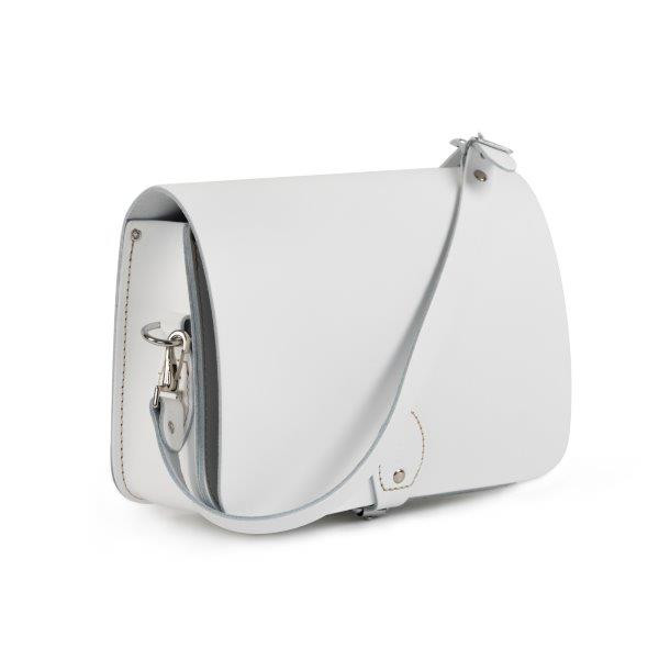 Riley Premium Leather Saddle Bag in White