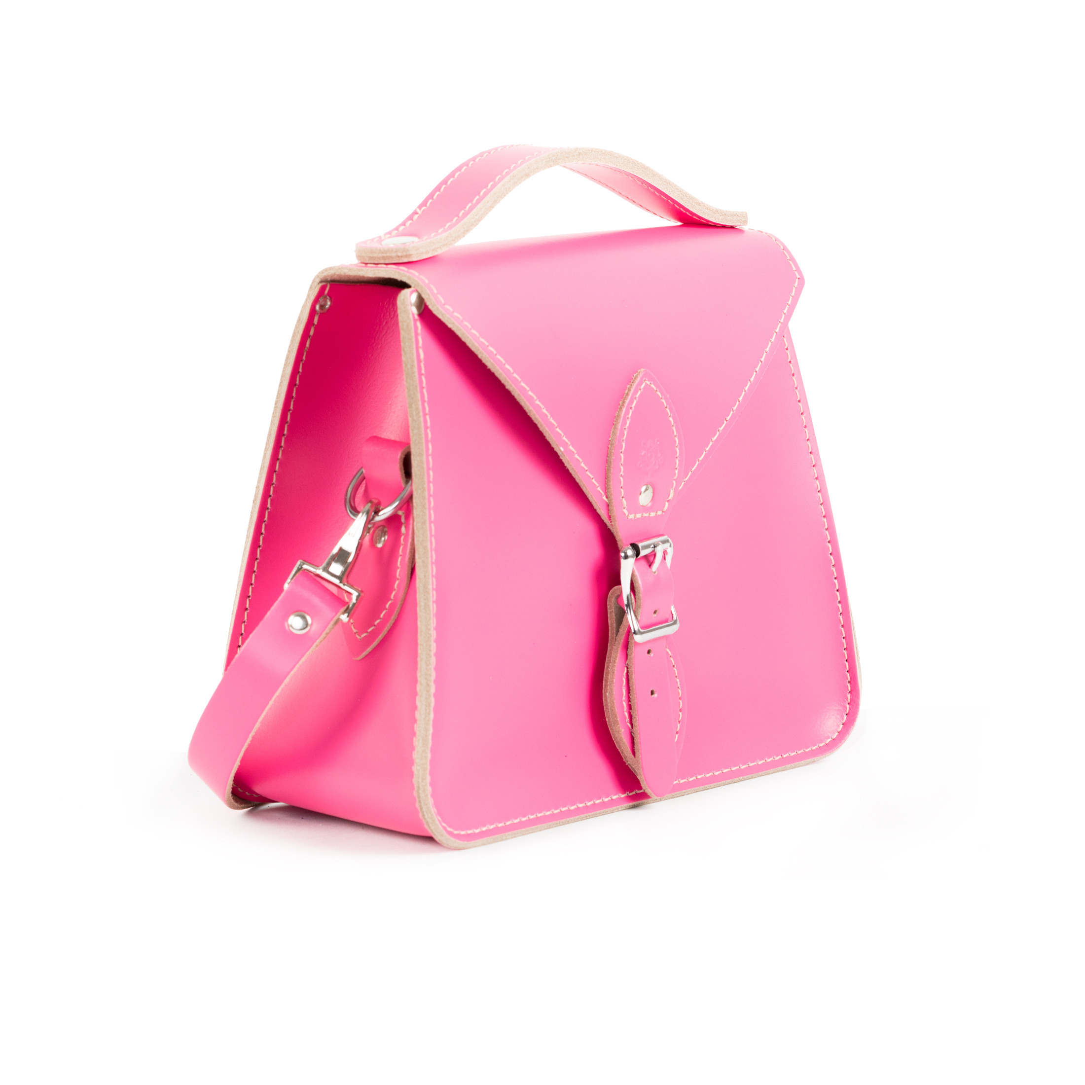 Esme Premium Leather Crossbody Bag in Bright Pink
