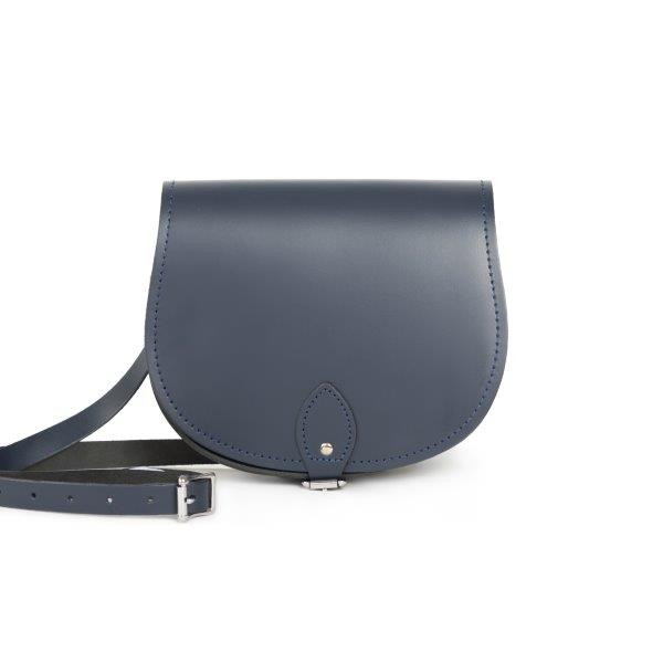 Avery Premium Leather Saddle Bag in Navy Blue