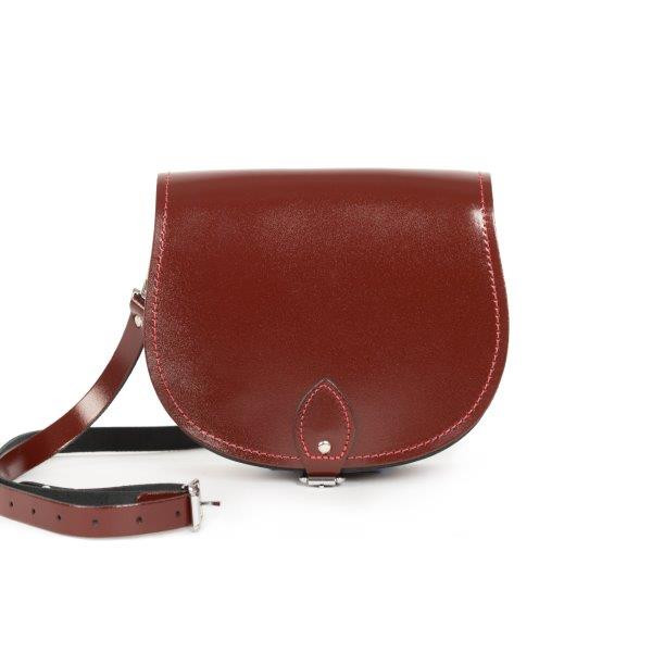 Avery Premium Leather Saddle Bag in Oxblood Patent