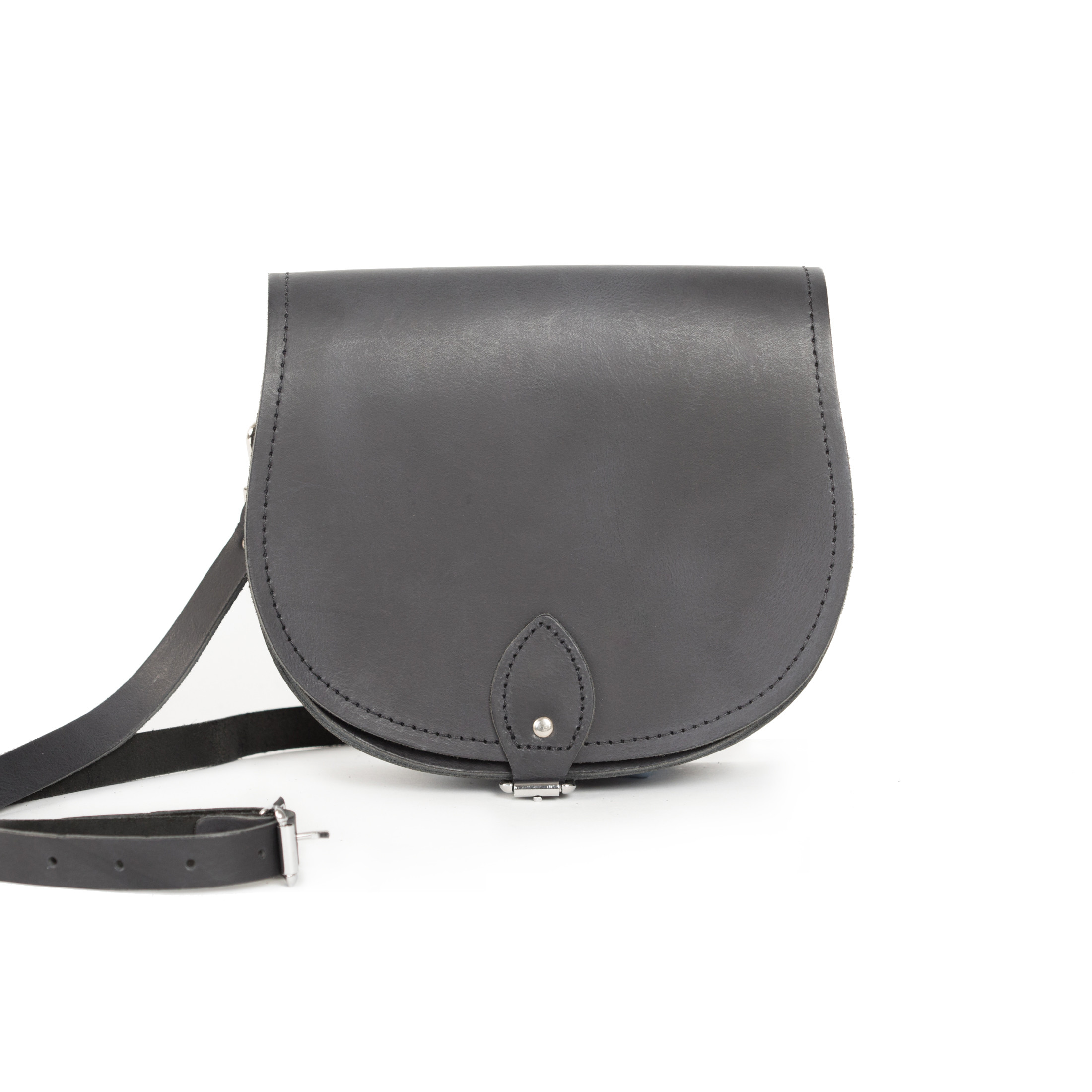 Avery Premium Leather Saddle Bag in Premium Black