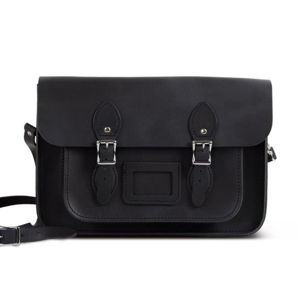 "Charlotte Premium Leather 13"" Satchel in Vintage Black"