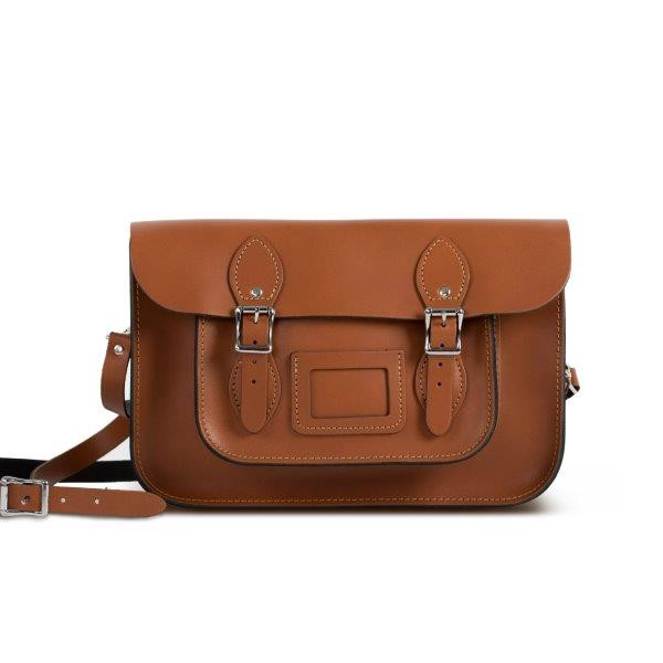 "Charlotte Premium Leather 12.5"" Satchel in Dark Tan"