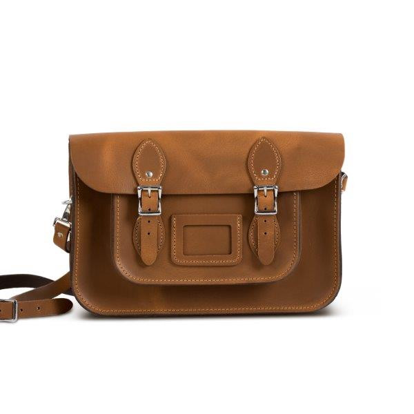 "Charlotte Premium Leather 12.5"" Satchel in Vintage Tan"