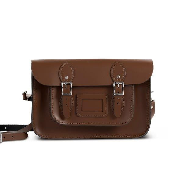 "Charlotte Premium Leather 12.5"" Satchel in Dark Brown"