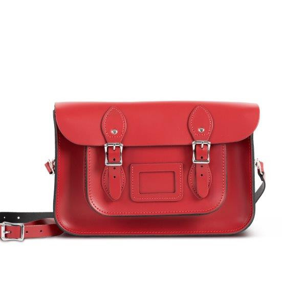 "Charlotte Premium Leather 12.5"" Satchel in Scarlet Red"