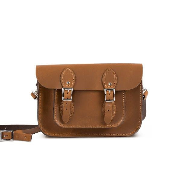 "Charlotte Premium Leather 11"" Satchel in Vintage Tan"