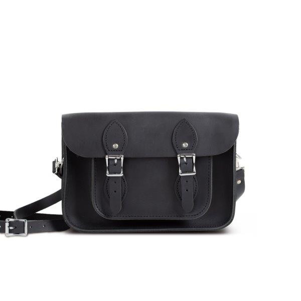 "Charlotte Premium Leather 11"" Satchel in Vintage Black"