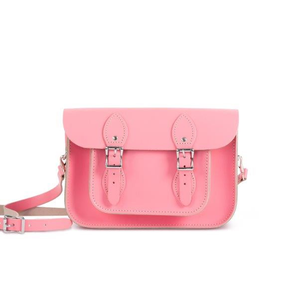 "Charlotte Premium Leather 11"" Satchel in Pastel Pink"