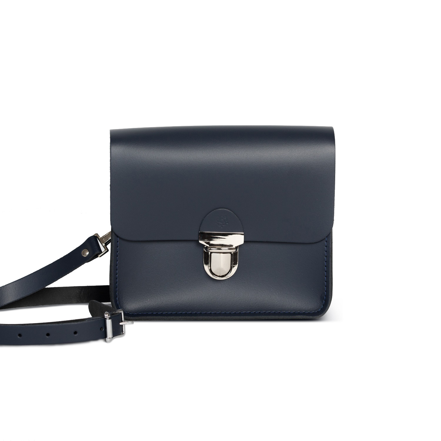 Sofia Premium Leather Crossbody Bag in Navy Blue