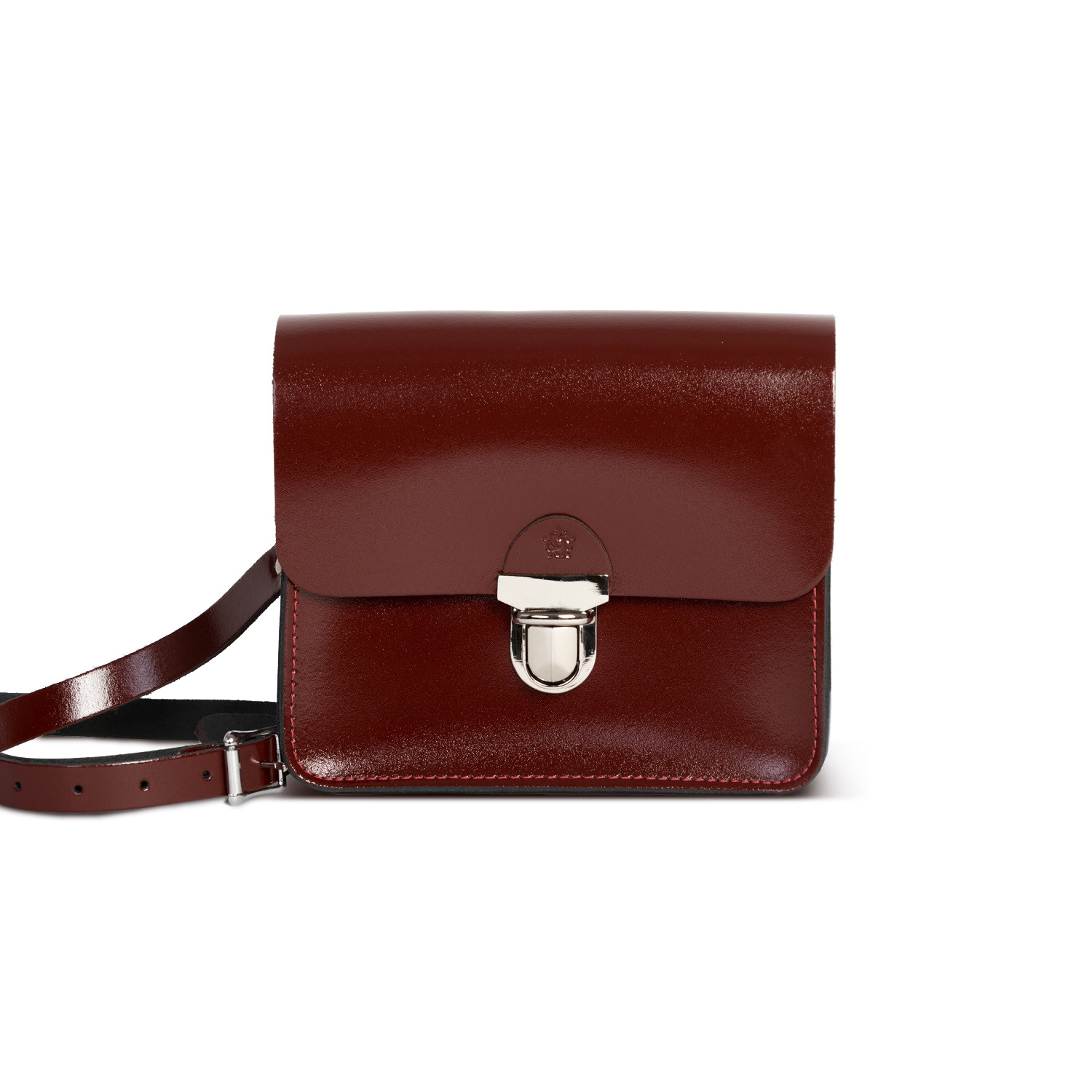 Sofia Premium Leather Crossbody Bag in Oxblood Patent