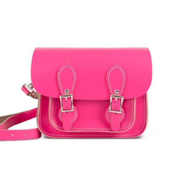 Freya Premium Leather Mini Satchel Bag in Bright Pink