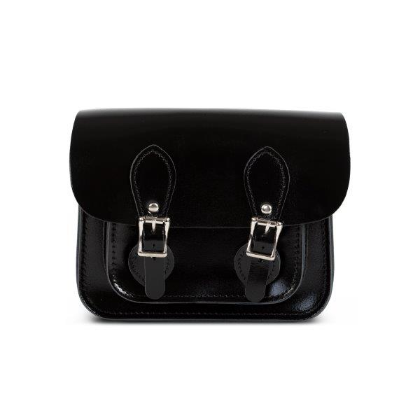 Freya Premium Leather Mini Satchel Bag in Black Patent